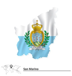 Map of san marino with flag vector