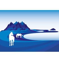 horse on blue landscape vector image