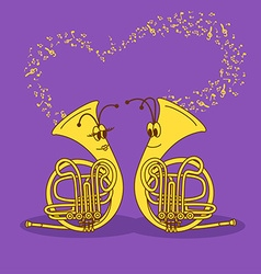 With snail trumpets vector