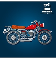 Motorcycle mechanical parts silhouette icon vector