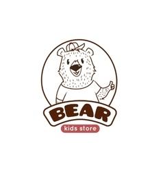 cute cartoon bear logo Funny animal mascot vector image