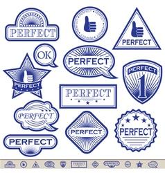 Blue labels perfect vector
