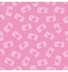 Seamless pattern with pink envelopes vector