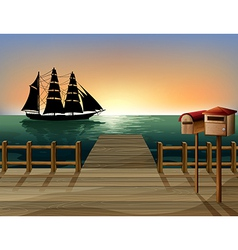 A sunset at the port vector image
