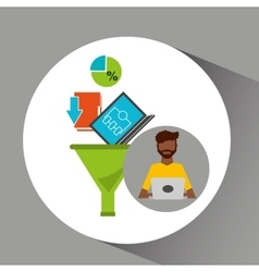 Afro man working laptop data analytics vector
