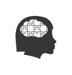 Brain puzzle head silhouette idea icon vector