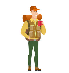 Caucasian traveler holding cup of coffee vector