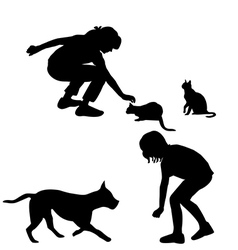 Children silhouettes playing with pets vector image vector image