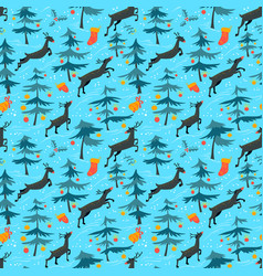 chirstmas seamless pattern with cute deers in vector image vector image