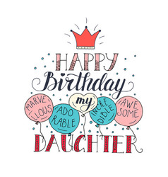 Color birthday card for daughter unique vector
