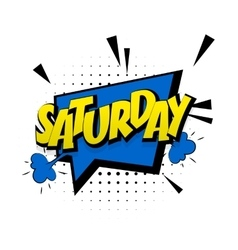 Comic blue sound effects pop art saturday week end vector