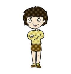 Comic cartoon annoyed woman vector