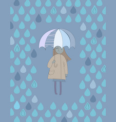 cute cartoon girl with an umbrella standing under vector image vector image