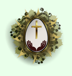 easter egg with a gold frame and a wreath of vector image vector image