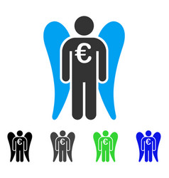 Euro angel investor flat icon vector