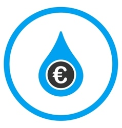 Euro liquid drop rounded icon vector