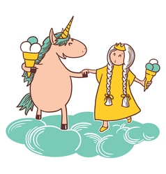 Fairy tail princess and unicorn vector image