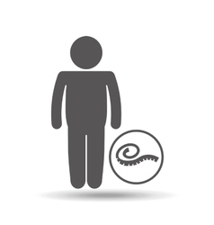 fat man silhouette and measure tape icon vector image