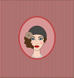 Flapper girl 20s-30s style portrait vignette vector