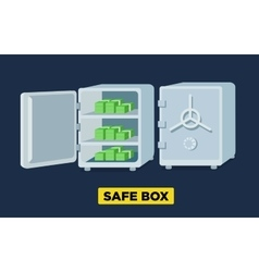 Flat safe boxes open and closed locked vector