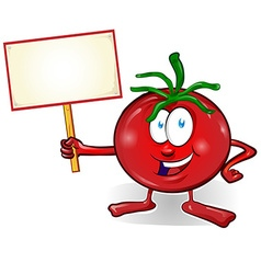 fun tomato cartoon with signboard vector image
