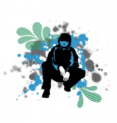 grunge man silhouette vector image vector image
