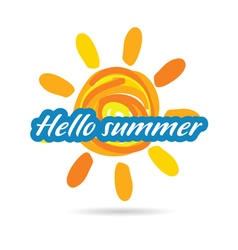 hallo summer with sun vector image vector image