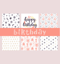 happy birthday seamless patterns and lettering vector image vector image