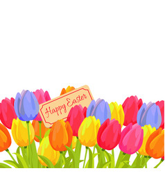 happy easter spring postcard with tulips vector image vector image