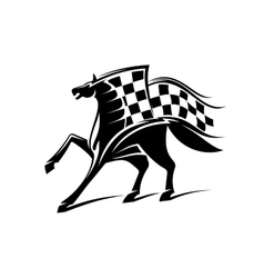 Horse racing emblem with checkered flag vector