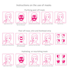instructions for use face masks vector image vector image