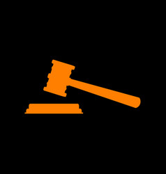 justice hammer sign orange icon on black vector image