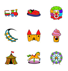 Lunapark icons set cartoon style vector