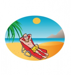 man tanning beach vector image vector image