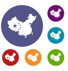 Map of china icons set vector