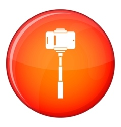 Mobile phone on a selfie stick icon flat style vector