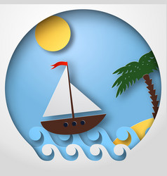 paper art sailing boat float on the tropical sea vector image