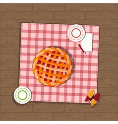 Pie and checkered fabric on wooden background vector