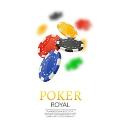 Poker gambling chips poster template poker game vector