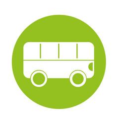round icon bus cartoon vector image