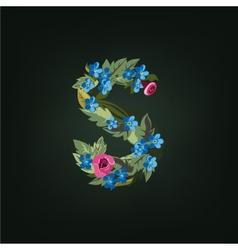 S letter flower alphabet colorful font vector