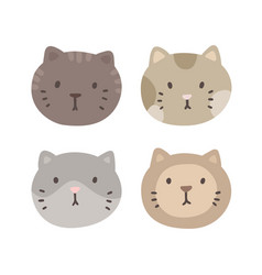 set of four cats faces vector image vector image