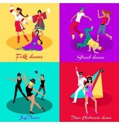 Set street folk dance jazz and disco vector