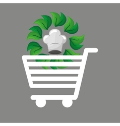 Shopping cart food organic vector