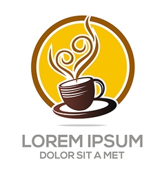 Sketch of coffee cup logo hot chocolate granule vector