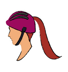 Sport woman profile wearing helmet vector