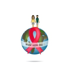 World aids day globe with red ribbon man and vector