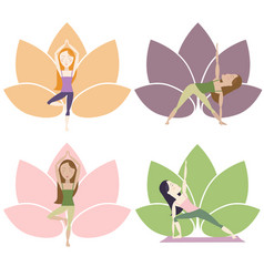 Yoga poses with lotus vector