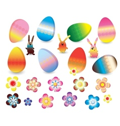 Easter set of colorful rabbits eggs and flowers vector