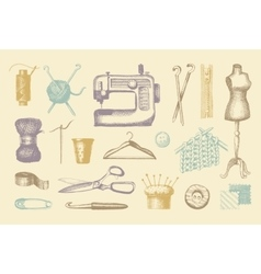 Sketches of tools and materials for sewing and vector